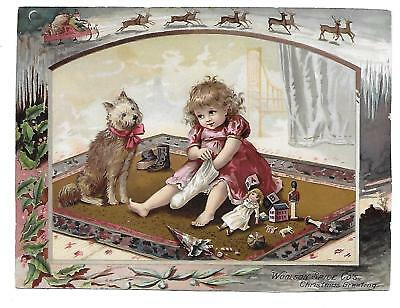 Large 1891 Lion Coffee Victorian  Trade Card Christmas Greeting Dog Toys