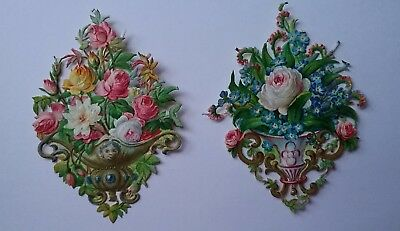 2 small Emboss.diecut Victorian Scraps 2 Wall mounted flower displays 7&1/2×6cms