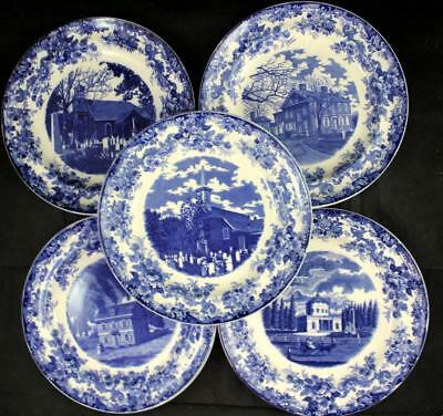 MINTON PHILADELPHIA Blue Transferware 5 Luncheon Plates Vintage GREAT CONDITION