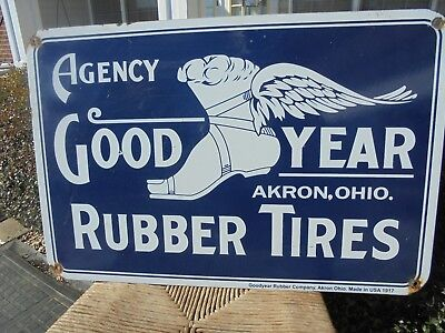 """Vintage Goodyear Rubber Tires Agency porcelain sign """"Akron Ohio USA"""" Wingfoot"""
