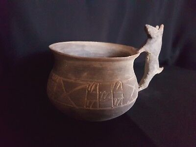 POTTERY- Ancient - Thracian ritual Cup . c. 5thc. BCE canine handle