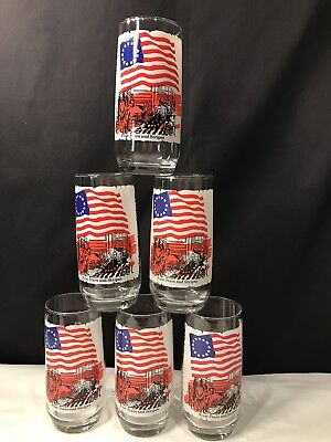 Set 6 Vintage Coca Cola First Stars & Stripes Heritage Collectors Glasses. EUC