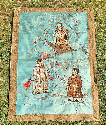 Antique Chinese Qing Dynasty Wall Hanging Of A Landscape With A Bird & Three Men
