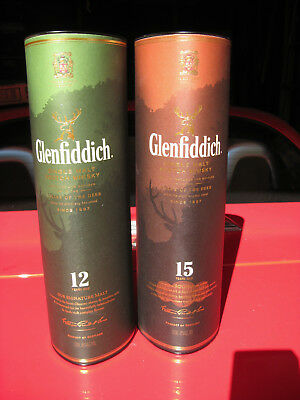 2 Old Glenfiddich Containers Single Malt Scotch Whisky 15 & 12 Years Empty Boxes