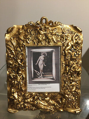 Vintage Cherub Decorated Gold Gilded  Picture Frame , Size 28 X 22.5 Cm