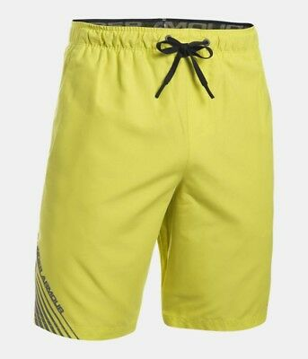 25d8301cb5 Under Armour Mens UA Mania Volley Shorts 1290508 Smash Yellow 772 Black  Size MD