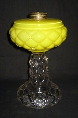 Kerosene Oil #2 Yellow Cased Table Stem Quilt Pattern Consolidated Lamp Glass Co