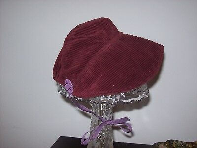 Antique Maroon Corduroy Baby Bonnet or Hat