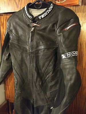 Teknic black Leather Motorcycle Suit size 46 racing