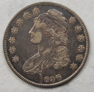 Antique 1836 836 Missing the 1 U.S. Half Dollar 50¢ Capped Bust Silver Coin