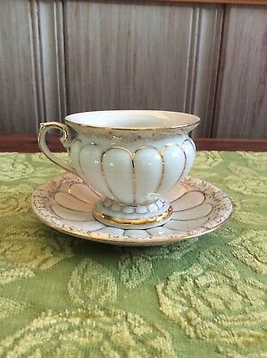 VINTAGE GOLD & WHITE MEISSEN PORCLAIN CUP and SAUCER EXCELLENT CONDITION