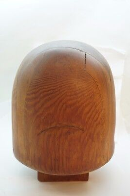 ANTIQUE HAT BLOCK HELMET MOLD MILLINERY FORM TOOL WOOD CARVED WOODEN DISPLAY d