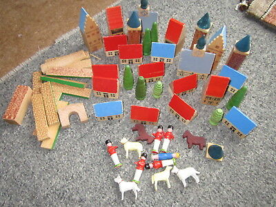 54 Wooden Toy Pieces Made In Gbr Houses People Animals Collectible