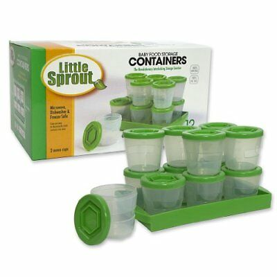 Baby Food Containers: Reusable Stackable Freezer Safe Storage Cups w/ Tray & Dr