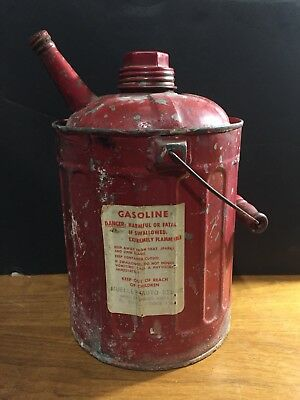 Antique Red 1-Gallon Metal Gas Can  With  Wood Handle! Nice!!