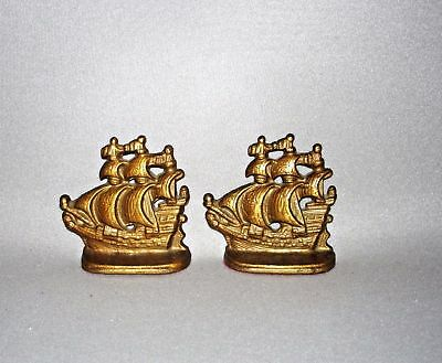 Vintage Cast Iron Ship Bookends Brass Finish