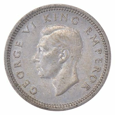 SILVER - 1937 New Zealand 3 Pence - World Silver Coin *445