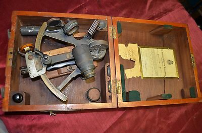 Husun Admirality pattern Hughes & Son Sextant in Case 1944  WWII