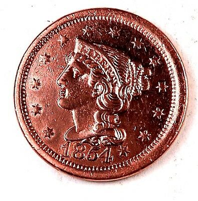 1854 Braided Hair Large Cent // Gem BU *red* // (LC5059)