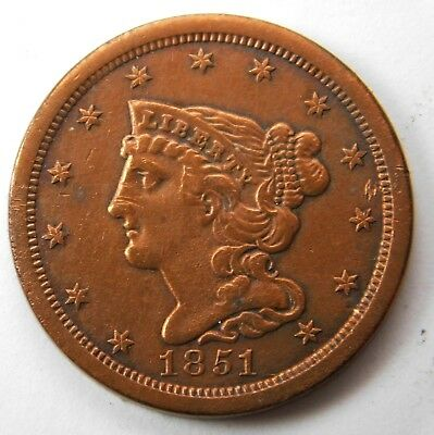 1851 Braided Hair Half Cent Penny - AU+ Condition 249