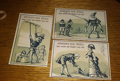 Antique Trading Cards...set of 3...Johnson's Silk Insole....late 1800's