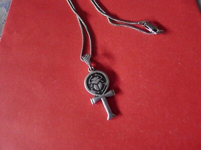 Sterling silver ankh with scarab
