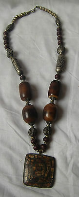 Beautiful Brass Tribal Necklace Synthetic Amber With Locket Pendant Jewelry Rare