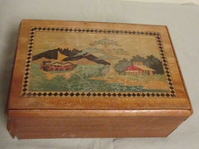Vintage Japan Wooden Mystery Puzzle Box - Painted Sides