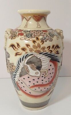 Japanese Satsuma Earthenware Pottery Moriage Vase Birds Floral Unmarked Unique