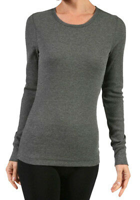 Women's Plus Thermal Long Sleeve Top Crew Neck Banded Sleeve Tee Basic Shirt