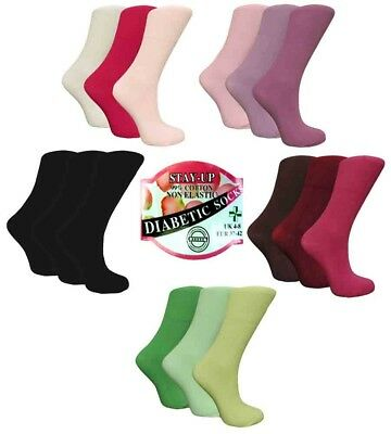 3 Pairs Ladies STAY-UP Diabetic 99% Cotton Socks,Various Colours, UK Size 4-8