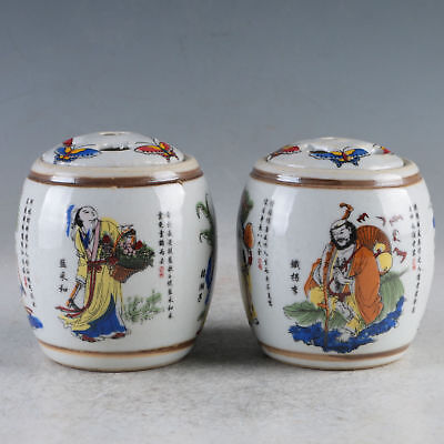 Old China A Pair Porcelain Hand-Painted Pots Made During The Daqing Qianlong
