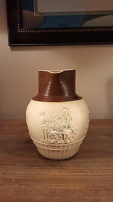 Very nicely sprigged 1790s John Turner Georgian stoneware Uncle Toby jug