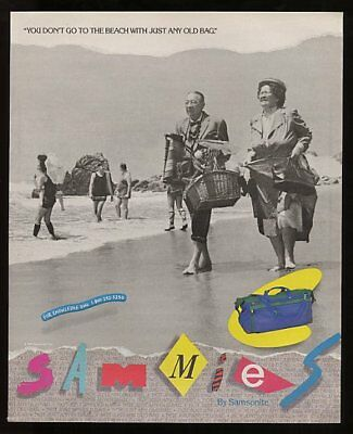 1992 Samsonite Sammies You Don't Go to the Beach with Just Any Old Bag Print Ad