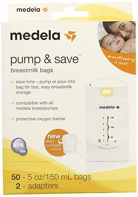 Medela Pump and Save Breast Milk Bags, 50 Count
