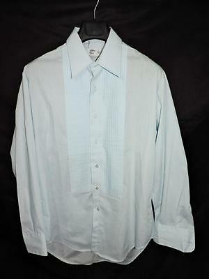 Vintage After Six 16 1/2 34 Light Blue Formal Shirt Pleated Front French Cuff