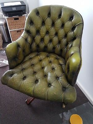 ANTIQUE VINTAGE Green Leather ARMCHAIR Chair - South Melbourne
