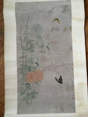 """Antique Chinese Hanging Scroll Painting 25 1/2"""" Picture Art"""