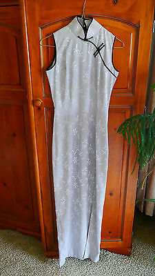 beautiful silver bamboo print Chinese asian style Cheongsam, Qipao dress