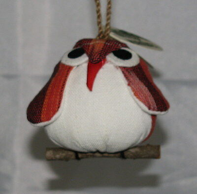 Owl On Branch Ornament Hand Made Of Dark Red & White Cotton- Fair Trade Thailand