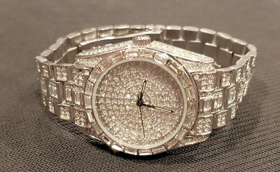 Iced Out Quartz Silver Tone Watch With Matching Bracelet Free Us Ship