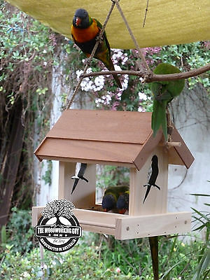 Wooden Bird Feeder - Native Birds Feeder - Garden ornament - Christmas present