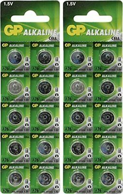 GP A76 LR44 AG13 Alkaline Cell 1.5V Alkaline Button Cell Battery x (20)