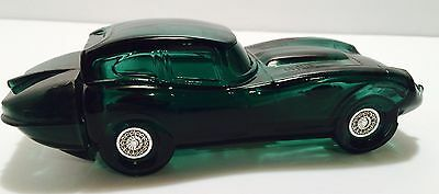 "Avon Vintage JAGUAR Car Decanter ""Wild Country"" After Shave Green Glass 1/4 full"