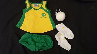 Build a Bear Netball Clothing Outfit Australia Green Gold