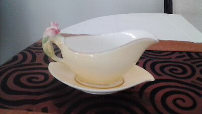Royal Winton Yellow Gravy Boat And Saucer - Rosebud