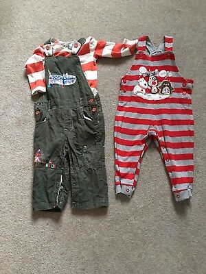 12-18 Months Boys Dungarees Winter ChrIstmas Outfit Warm