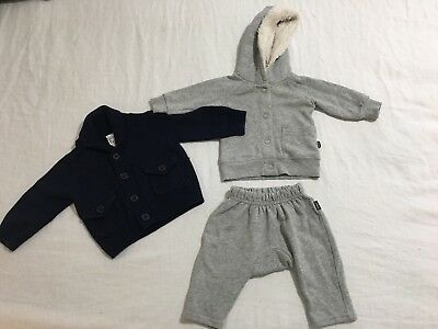 BABY girl boy unisex BONDS TRACKSUIT and NAVY KNIT CARDIGAN 000 00