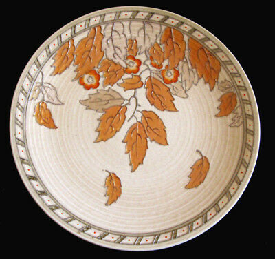 "Charlotte Rhead Signed 4291 Golden Leaves 12.5"" Charger Wall Plate Crown Ducal"
