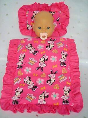 Dolls ~ Minnie Mouse~ Pillow & Quilt Cover Set For~ Bed, Cot, Pram, Cradle ~